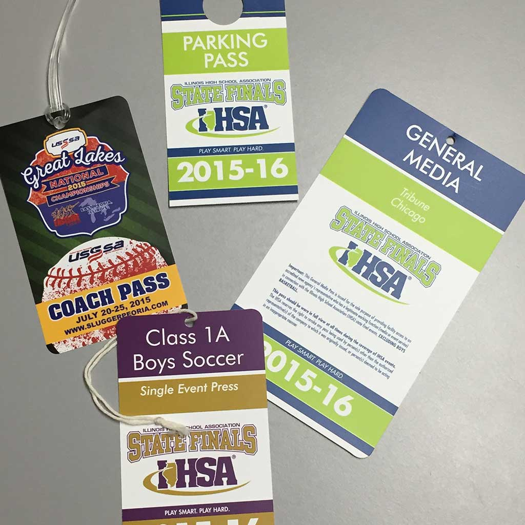 More than 35,000 tags produced for state-wide high school athletic association by PIP Printing on Masterpiece Graphix 14 mil synthetic paper,