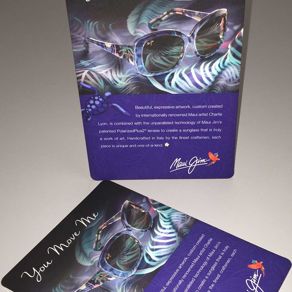 Counter cards produced by PIP Printing for national eye wear company.