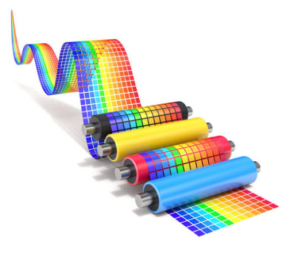 Cmyk,Set,Of,Printer,Rollers,With,Wavy,Color,Chart,-