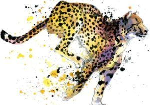 Cheetah,Watercolor,Illustration,With,Splash,Textured,Background.